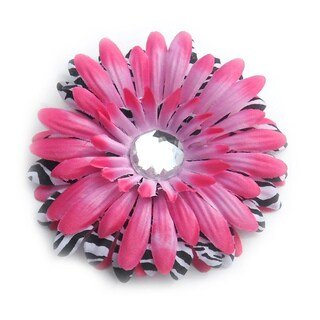 Boutique Hot Pink and Zebra Flower Clip