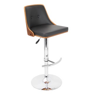 Nueva Mid-century Modern Walnut Wood Adjustable Barstool