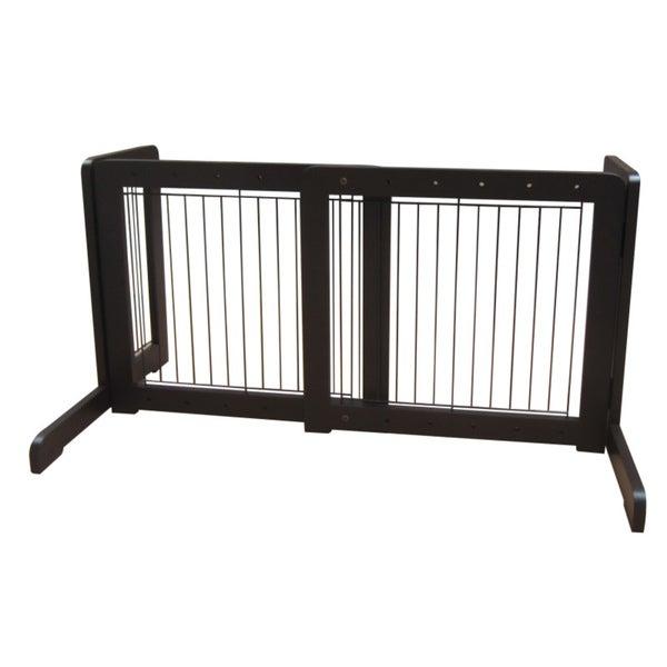 Dark Walnut Free-standing 23.6-39.4-inch Pet Gate