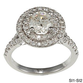 14k White Gold 1 5/8ct TDW Double Halo Diamond Engagement Ring