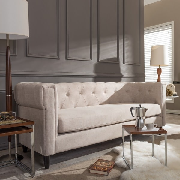 Baxton Studio Beige Linen Chesterfield Sofa