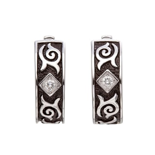 Silver 1/10ct TDW Diamond Black Antique Hoop Earrings (H-I, I2-I3)