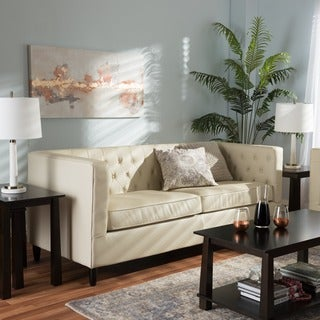 Baxton Studio Darrow Cream Modern Leather Sofa