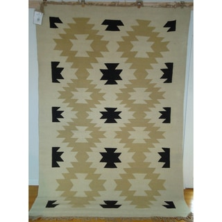 Flatweave Ghost Dance Cream, Black & Khaki Egyptian Wool Area Rug (6' x 9') (Egypt)