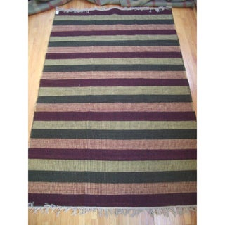 Chatauqua Rust, Black, Gold and Green 100-percent Egyptian Wool Flatweave Rug (6' x 9') (Egypt)