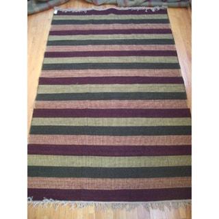 Chatauqua Rust, Black, Gold and Green 100-percent Egyptian Wool Flatweave Rug (6' x 9') (Egypt)
