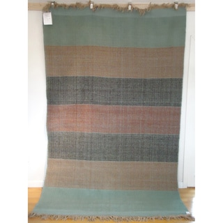 Flatweave Banded Dhama Turquoise, Rust and Black Egyptian Wool (6' x 9') (Egypt)