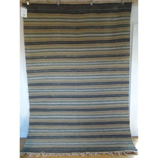 Flatweave Stripes Gray, Blue, and Brown Egyptian Wool Rug (6' x 9') (Egypt)