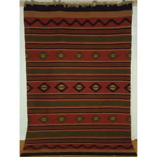 Flatweave Durango Camel, Black, Rust, Brown, and Green Egyptian Wool Rug (6' x 9') (Egypt)