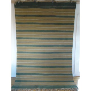 Flatweave Stripes Green and Blue Egyptian Wool Rug (6' x 9') (Egypt)