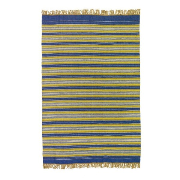 Flatweave Stripes Blue, Yellow, White and Green 100-percent Egyptian Wool Rug (6' x 9') (Egypt)