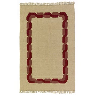Flatweave Magdoula Burgundy and White Egyptian Wool Rug (6' x 9') (Egypt)