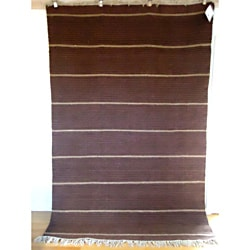 Flatweave Newlands Burgundy and Beige Egyptian Wool Rug (6' x 9') (Egypt)