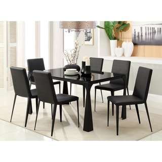 Furniture of America Basuki 7-piece BlackTempered Glass Dining Set