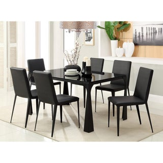 Enitial Lab Basuki 7-piece BlackTempered Glass Dining Set