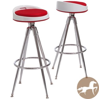 Christopher Knight Home Valeria Red Fabric Barstools (Set of 2)