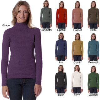 AtoZ Women's Long Sleeve Mock Neck Top