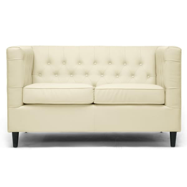 Darrow Cream Modern Leather Loveseat