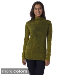 AtoZ Women's Antique Wash Long Sleeve Mock Neck Top
