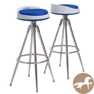 Christopher Knight Home Valeria Blue Fabric Barstools (Set of 2)