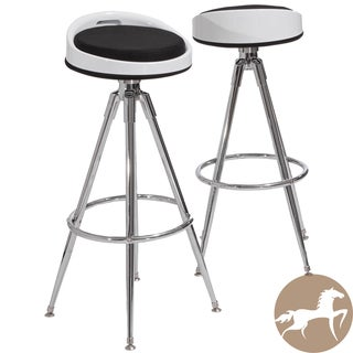 Christopher Knight Home Valeria Black Fabric Barstools (Set of 2)