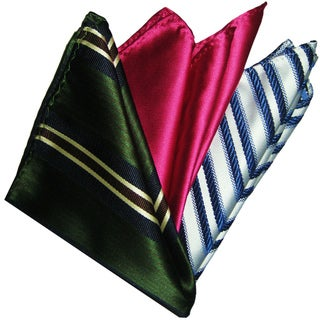 Dmitry Men's Italian Silk Pocket Squares (Pack of Three)