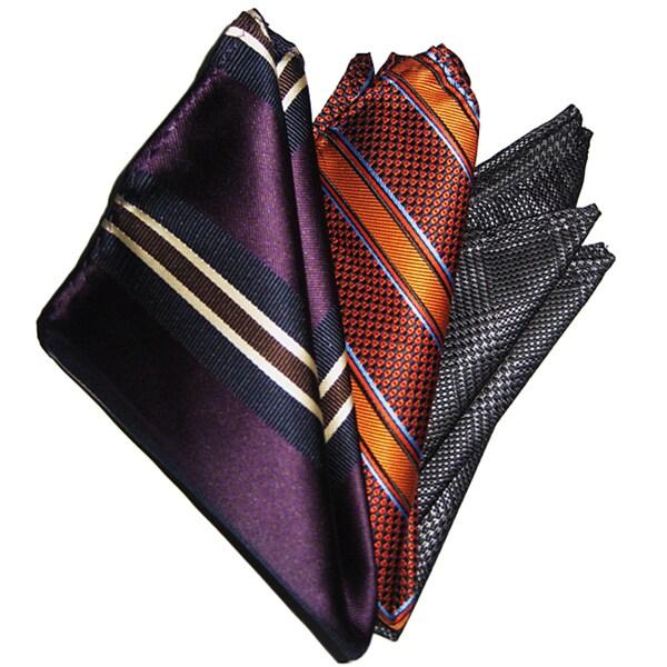 Dmitry Men's Silk Pocket Squares (Pack of 3)