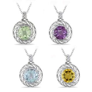 Miadora Silver Gemstone and 1/6ct TDW Diamond Necklace (H-I, I2-I3)