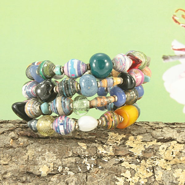 Handcrafted Recycled/ Natural Materials Tribal Coil Bracelet (Kenya)
