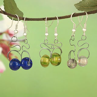 Handcrafted Recycled Glass Beads Tribal Stainless Steel Wire Earrings (Kenya)