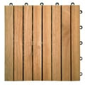 Premier Acacia Interlocking Deck Tile with 8 Slat Design in Teak Finish