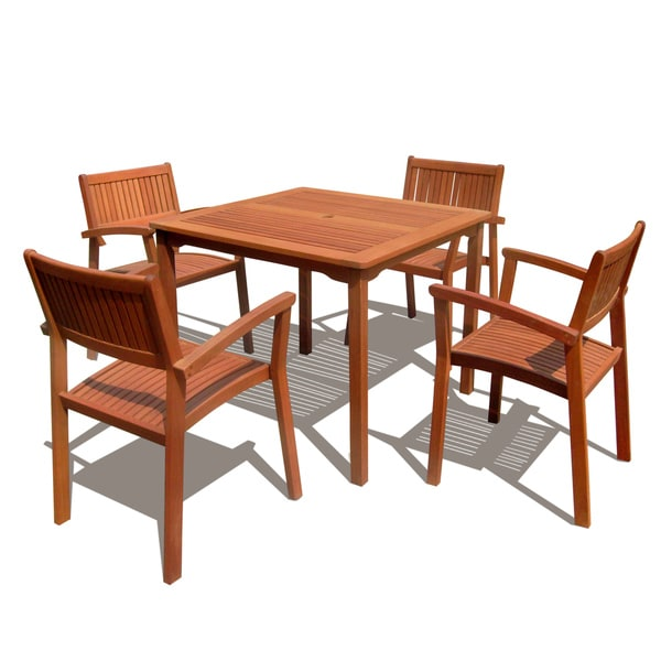 Square Table And Stacking Chairs 5 Piece Dining Set Overstock