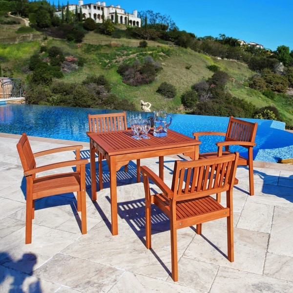 Square Table and Stacking Chairs 5-piece Dining Set
