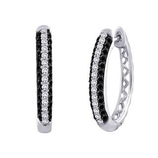10k White Gold 3/4 TDW Black and White Diamond Earrings (G-H, I2-I3)