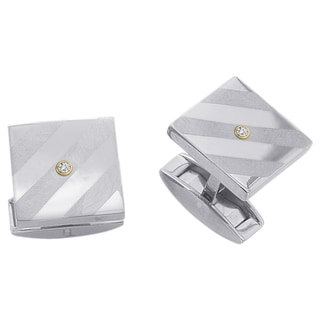 Titanium Men's Diamond Accent Square Cuff Links