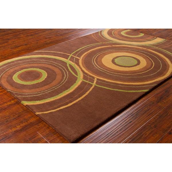 "Modern Allie Handmade Geometric Brown Wool Rug (5' x 7'6"")"