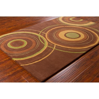 "Modern Allie Handmade Geometric Brown Wool Rug (5' x 7'6"")"