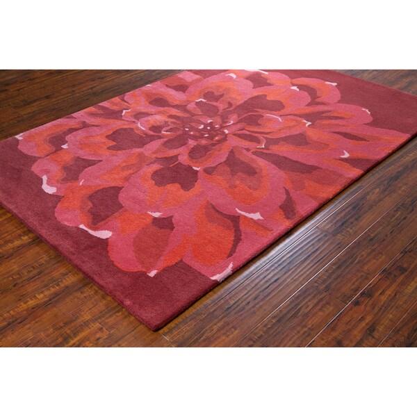 """Burgundy Pink Allie Handmade Floral Wool Rug (5' x 7'6"""")"""