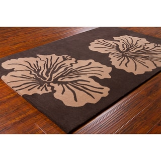 Allie Contemporary Handmade Floral Brown Wool Rug (5' x 7'6)