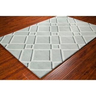 Handmade Allie Grey/ Light Grey Geometric Wool Rug (5' x 7'6)