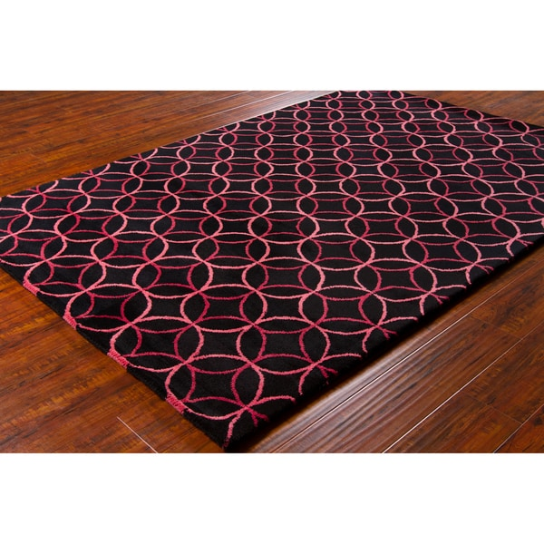 Allie Handmade Geometric Black Wool Rug with Canvas Backing (5' x 7'6)