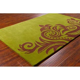 "Allie Handmade Abstract Green Wool Area Rug (5' x 7'6"")"