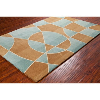 Allie Handmade Abstract Contemporary Brown/Blue Wool Rug (5' x 7' 6