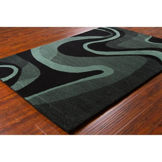 Allie Handmade Geometric Black/ Teal Wool Rug (5' x 7'6)