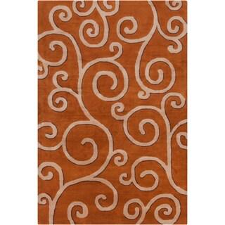 Allie Handmade Rust Abstract Wool Rug (5' x 7'6)