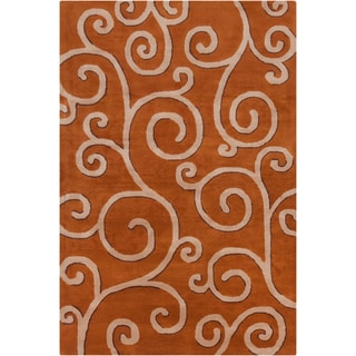Allie Handmade Rust Abstract Wool Rug (5' x 7'6)