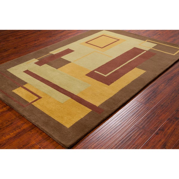 Handmade Allie Brown Geometric Wool Rug (5' x 7'6)