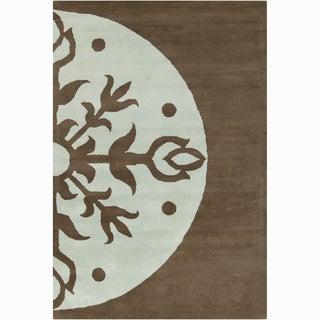 Allie Handmade Abstract Brown/ Blue Wool Rug (5' x 7'6)