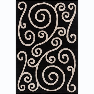 Allie Handmade Black Wool Rug (5' x 7'6)