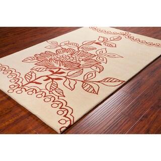 Plush Allie Handmade Floral Wool Rug (5' x 7'6
